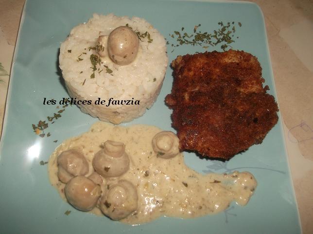 colin pan au riz et sa sauce aux champignons les d lices de fawzia. Black Bedroom Furniture Sets. Home Design Ideas