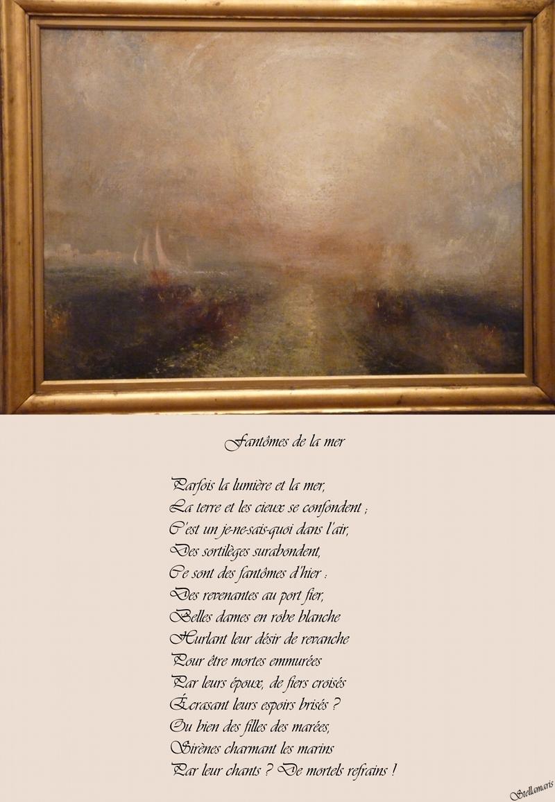 Fantômes de la mer / / Parfois la lumière et la mer, / La terre et les cieux se confondent ; / C'est un je-ne-sais-quoi dans l'air, / Des sortilèges surabondent, / Ce sont des fantômes d'hier : / Des revenantes au port fier, / Belles dames en robe blanche / Hurlant leur désir de revanche / Pour être mortes emmurées / Par leurs époux, de fiers croisés / Écrasant leurs espoirs brisés ? / Ou bien des filles des marées, / Sirènes charmant les marins / Par leur chants ? De mortels refrains ! / / Stellamaris